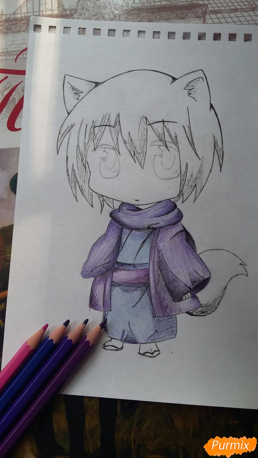 Как нарисовать Томоэ в стиле чиби из аниме Очень приятно, Бог  - шаг 7