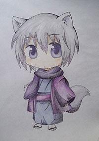 Рисунок Томоэ в стиле чиби