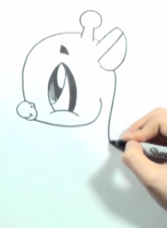 Рисуем жирафика в стиле чиби на бумаге - шаг 2