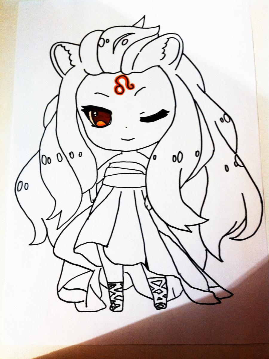 Рисуем знак зодиака лев в стиле чиби девочки  или маркером - шаг 4