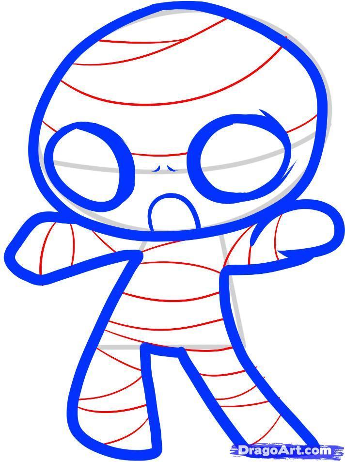 Как рисовать мумию в стиле чиби