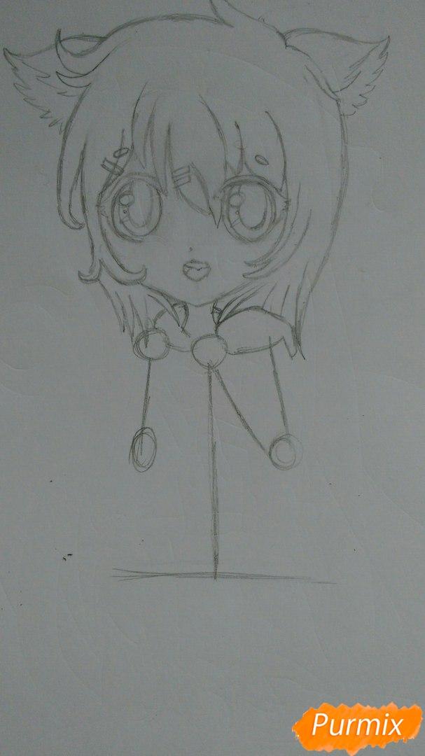 Милая девочка в полный рост в стиле чиби - шаг 5