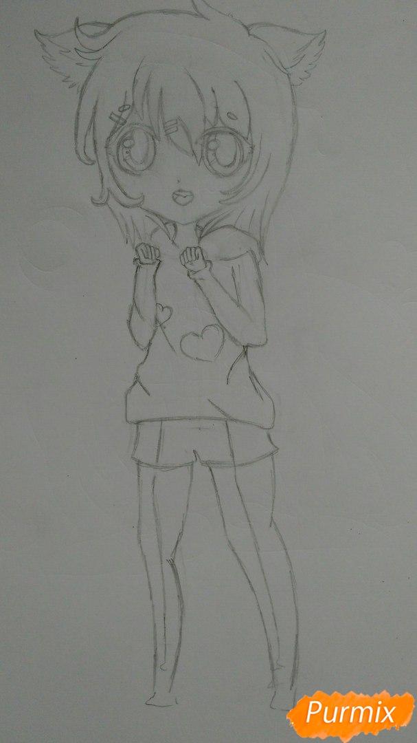 Милая девочка в полный рост в стиле чиби - шаг 8