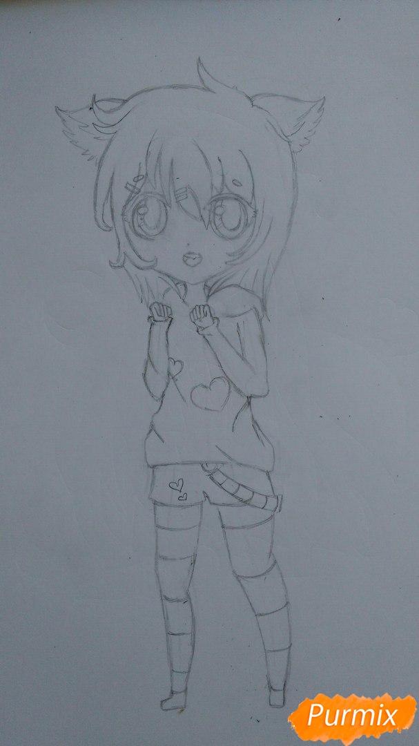 Милая девочка в полный рост в стиле чиби - шаг 9