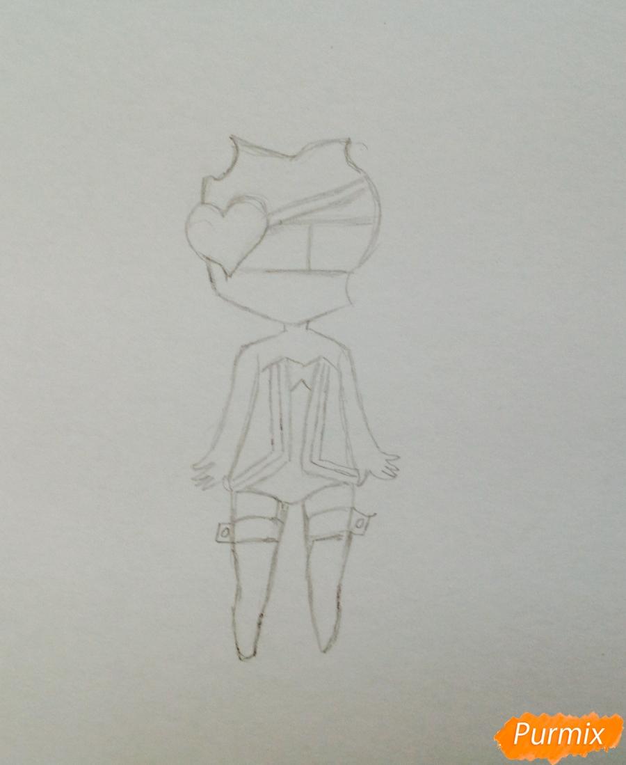 Рисуем чиби демона цветными карандашами - шаг 2