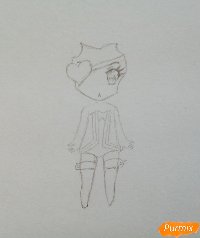 Рисуем чиби демона цветными карандашами - шаг 3