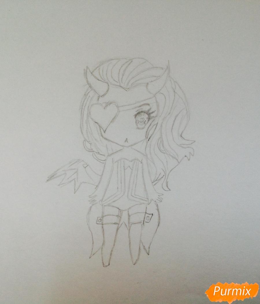 Рисуем чиби демона цветными карандашами - шаг 4