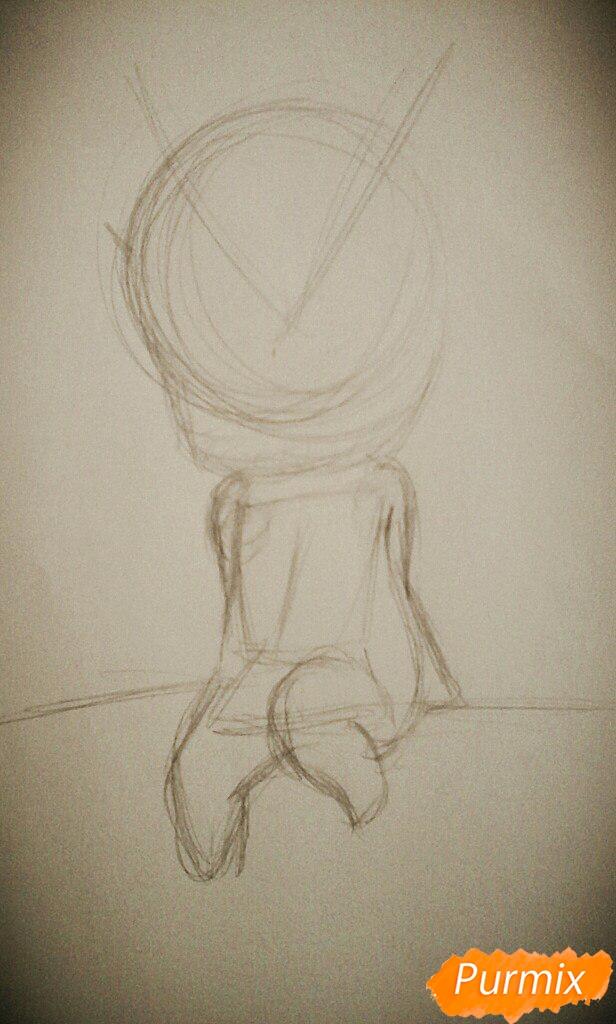 Рисуем миленького ёкайчика карандашами - шаг 1