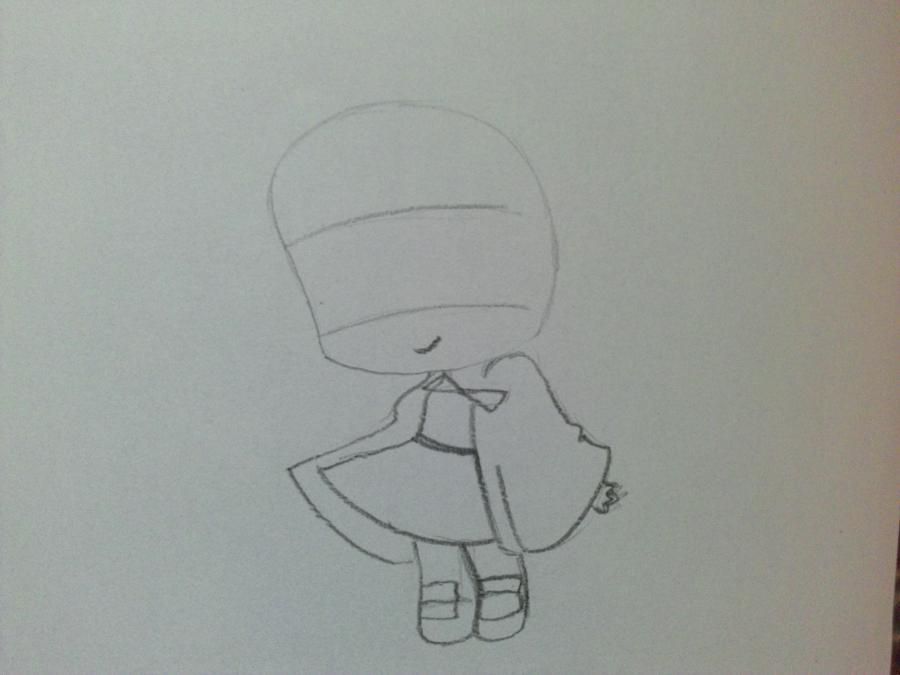 Рисуем девочку чиби в шапке Деда Мороза - шаг 1
