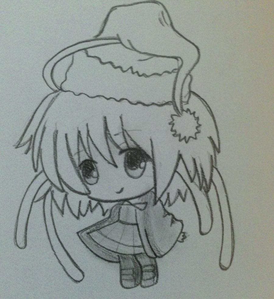 Рисуем девочку чиби в шапке Деда Мороза - шаг 4