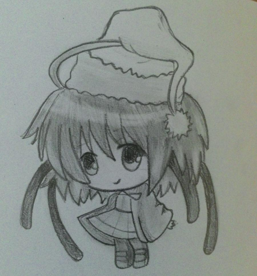 Рисуем девочку чиби в шапке Деда Мороза - шаг 5