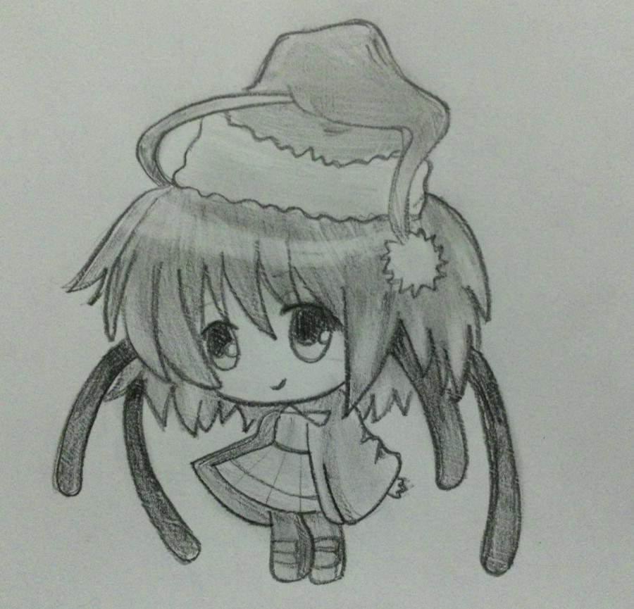 Рисуем девочку чиби в шапке Деда Мороза - шаг 6