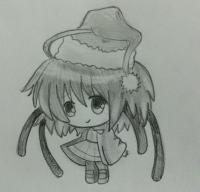 Рисуем девочку чиби в шапке Деда Мороза карандашом