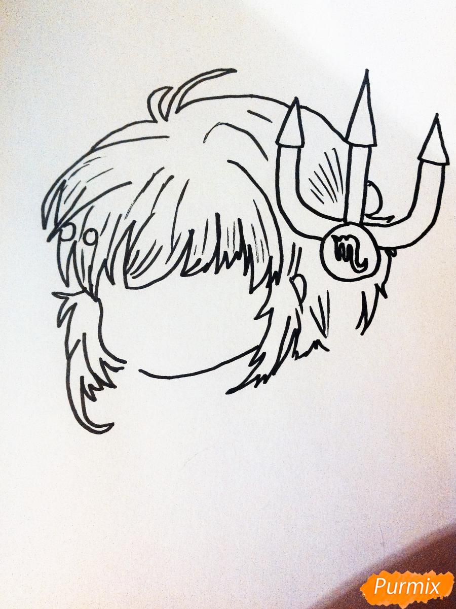 Рисуем знак зодиака скорпион в стиле чиби девочки карандашами и фломастерами - шаг 1