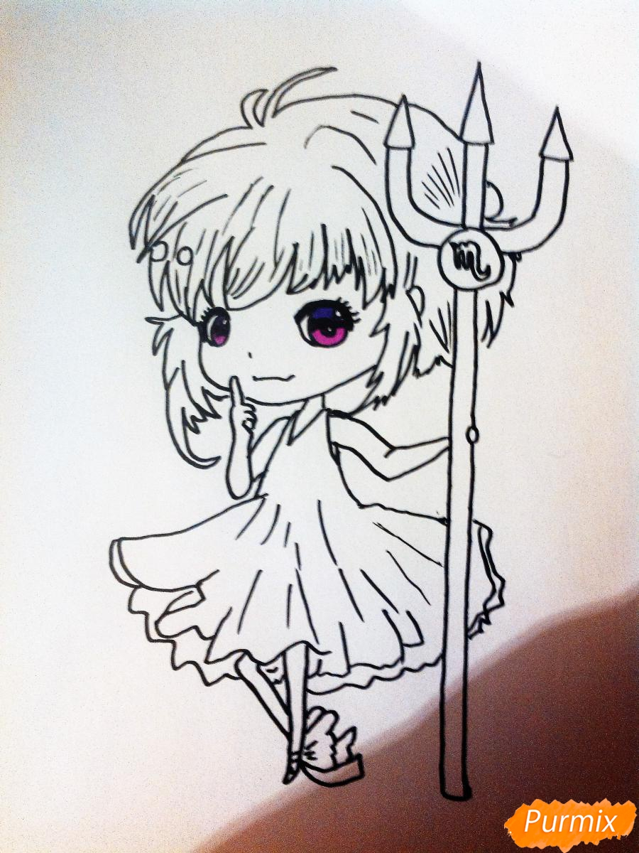 Рисуем знак зодиака скорпион в стиле чиби девочки карандашами и фломастерами - шаг 3
