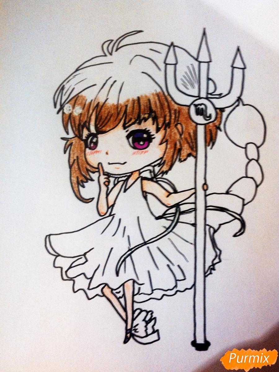 Рисуем знак зодиака скорпион в стиле чиби девочки карандашами и фломастерами - шаг 4