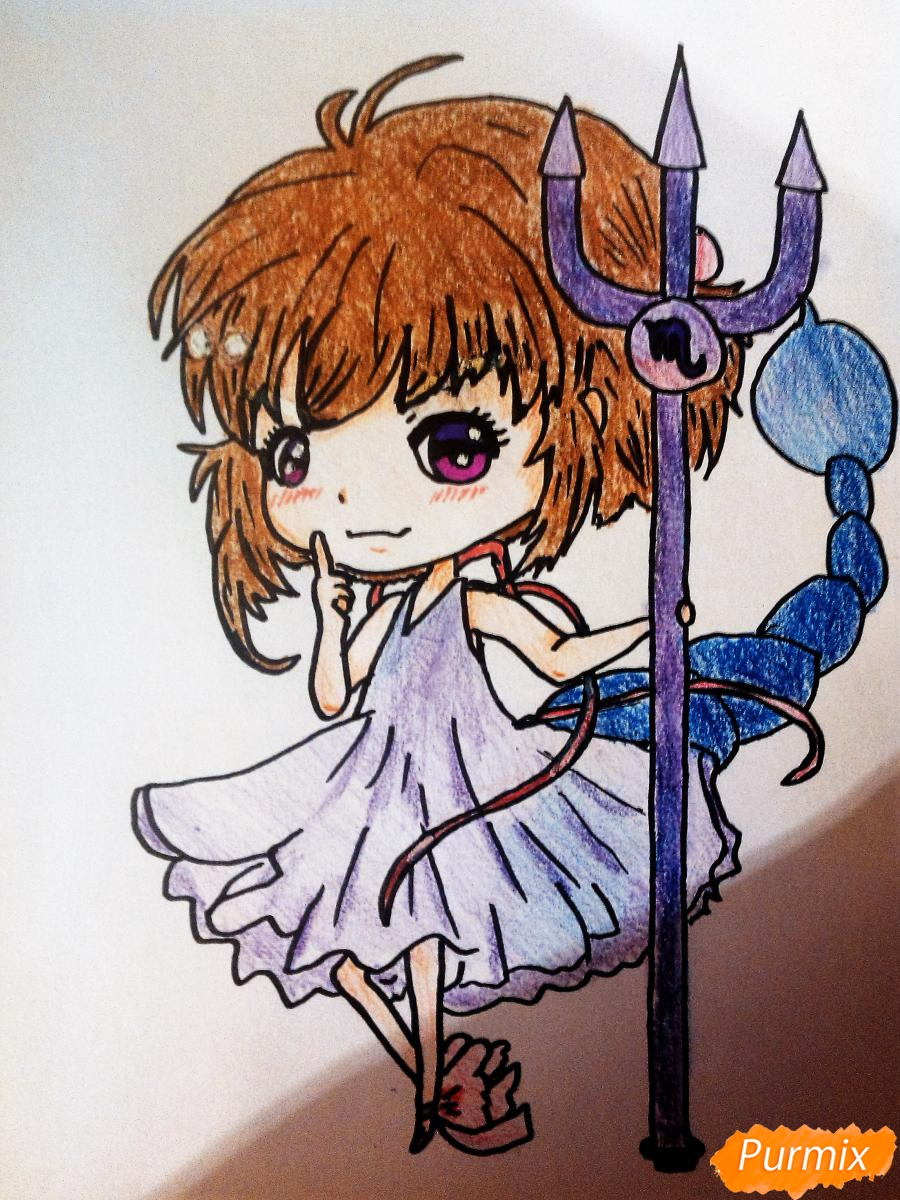 Как нарисовать знак зодиака скорпион в стиле чиби девочки карандашами и фломастерами