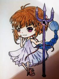 Рисуем знак зодиака скорпион в стиле чиби девочки