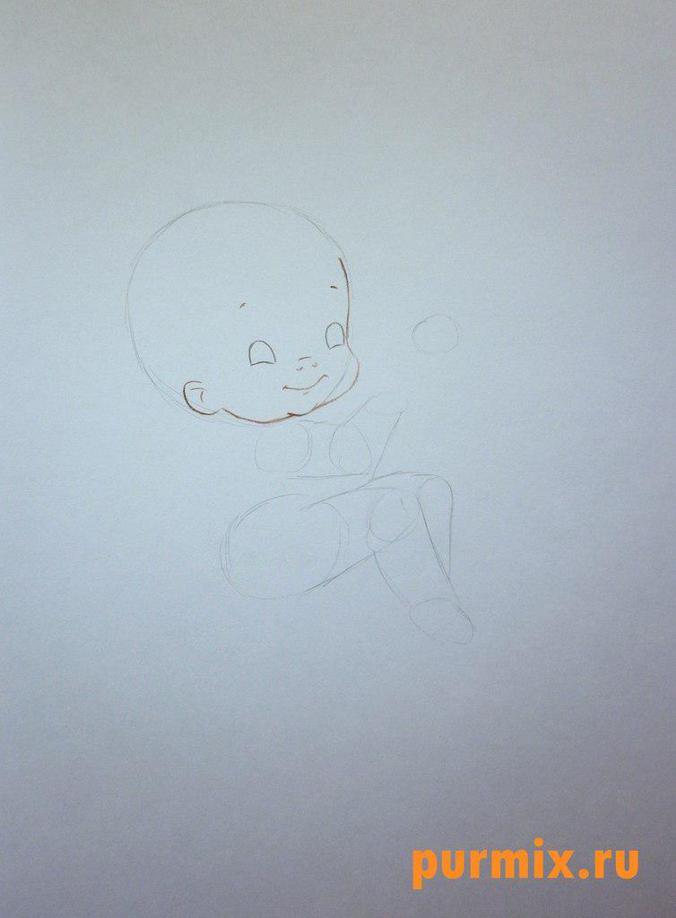Рисуем Купидона ко дню Св. Валентина цветными карандашами - шаг 2