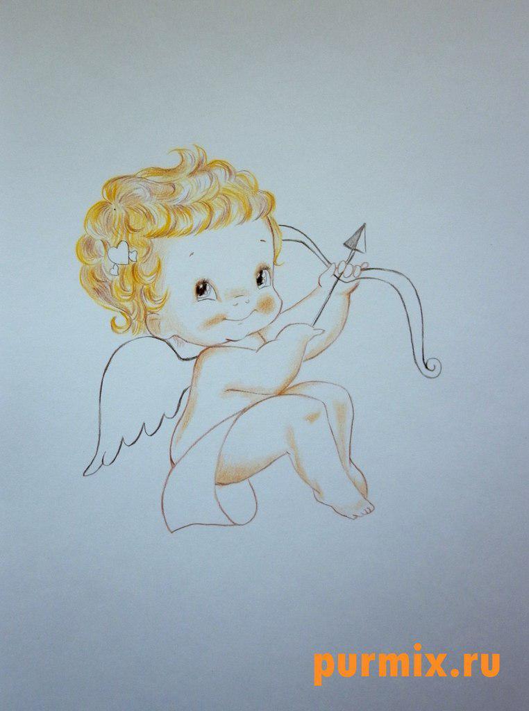 Рисуем Купидона ко дню Св. Валентина цветными карандашами - шаг 5