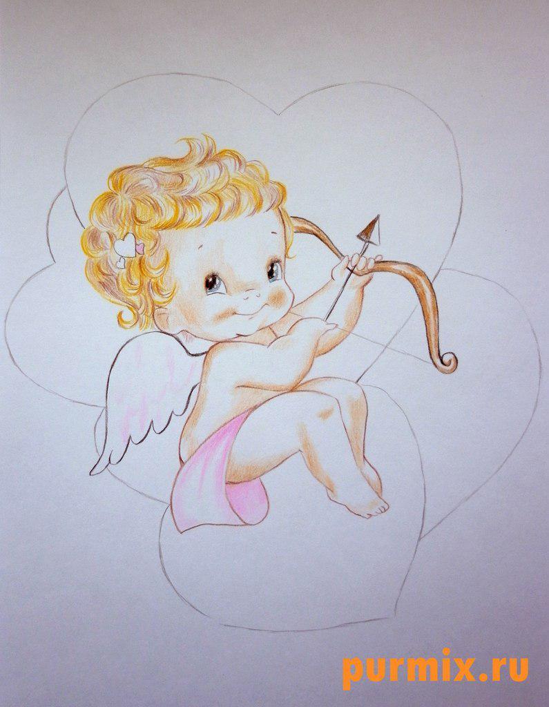 Рисуем Купидона ко дню Св. Валентина цветными карандашами - шаг 6