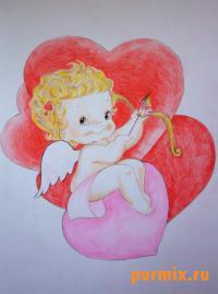 Амура ко дню Св. Валентина цветными карандашами