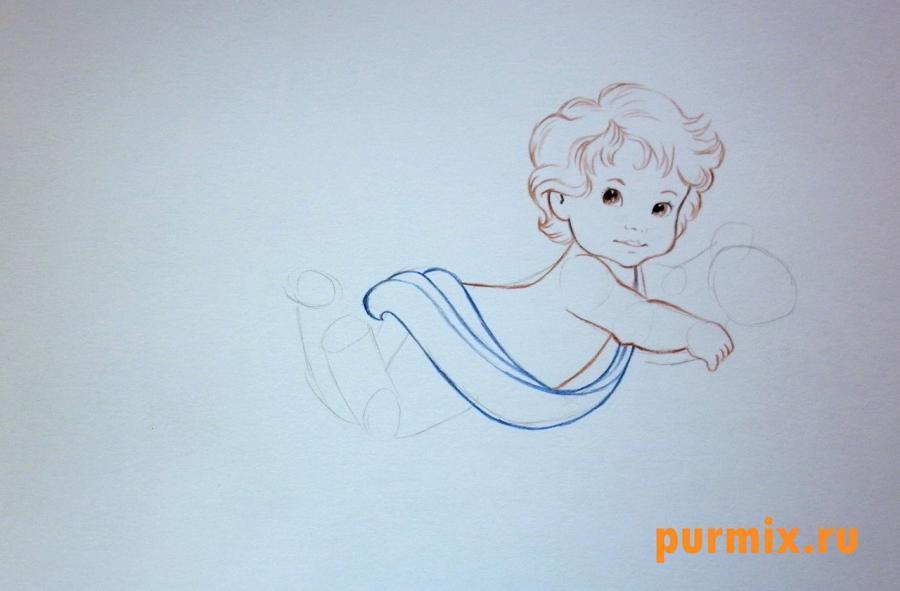 Рисуем Амура на 14 февраля цветными карандашами
