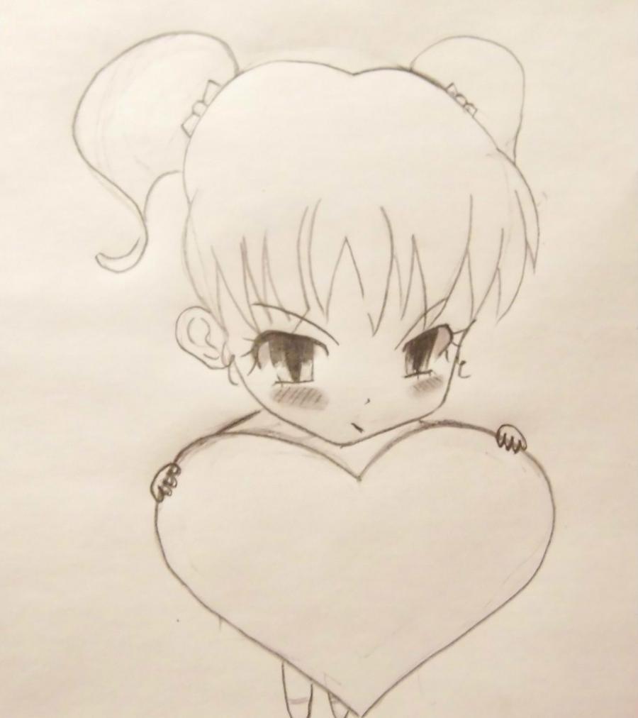 Рисуем девочку с валентинкой