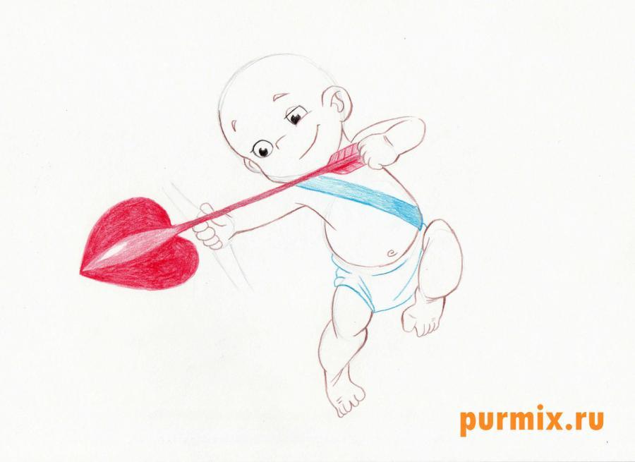 Рисуем Амура (Купидона) карандашами - шаг 4
