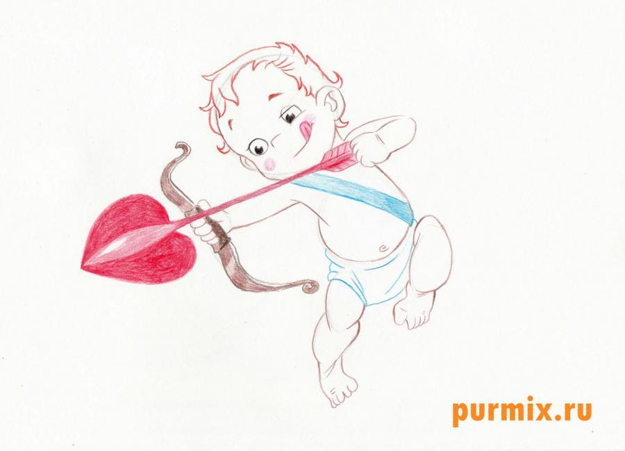 Рисуем Купидона на 14 февраля цветными карандашами