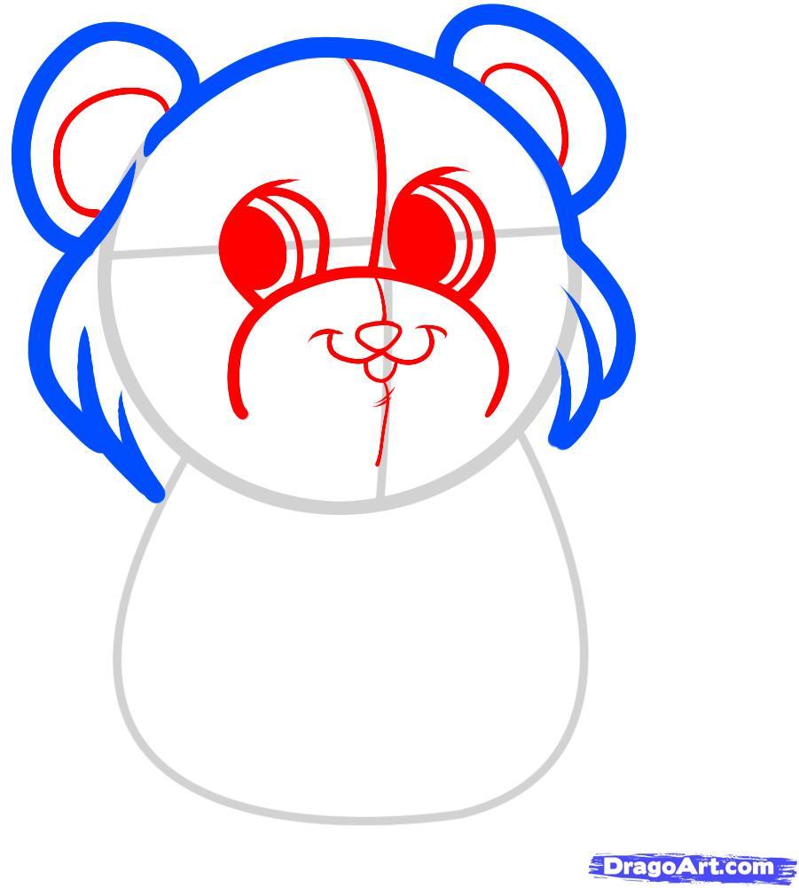Рисуем красивого медвежонка с сердцем - шаг 3