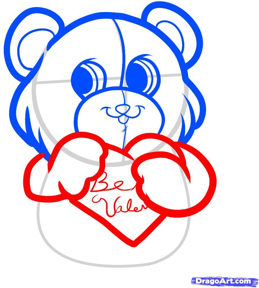 Рисуем красивого медвежонка с сердцем - шаг 4
