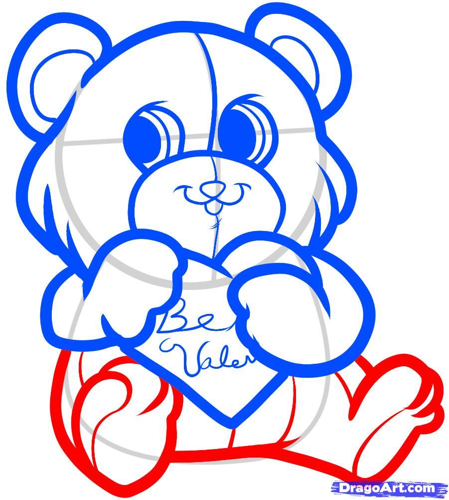 Рисуем красивого медвежонка с сердцем - шаг 5