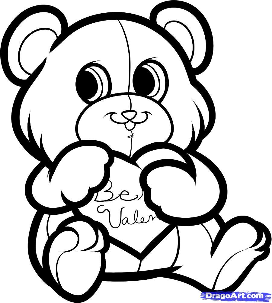 Рисуем красивого медвежонка с сердцем - шаг 6