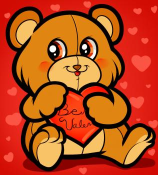 Рисуем медвежонка ко дню св. Валентина