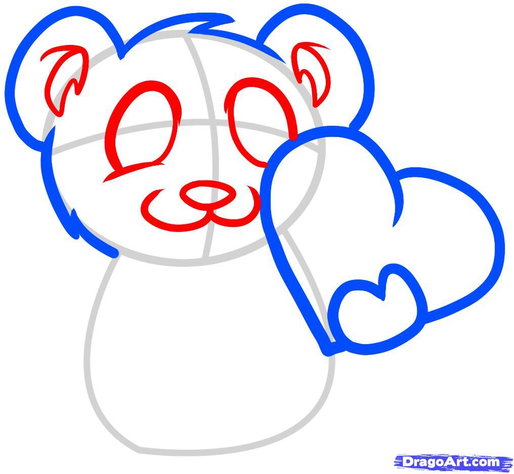 Рисуем мишку с валентинкой - шаг 3