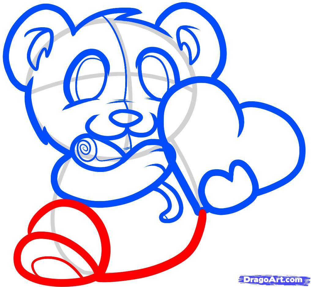Рисуем мишку с валентинкой - шаг 5