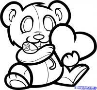 Как нарисовать мишку с валентинкой карандашом поэтапно