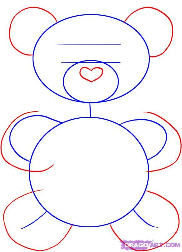 Рисуем плюшевого мишку с сердцем - шаг 2