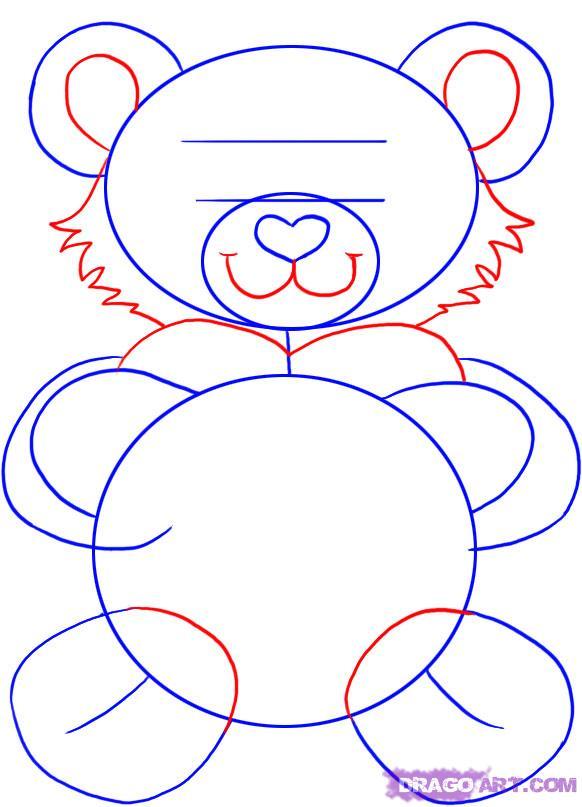 Рисуем плюшевого мишку с сердцем - шаг 3