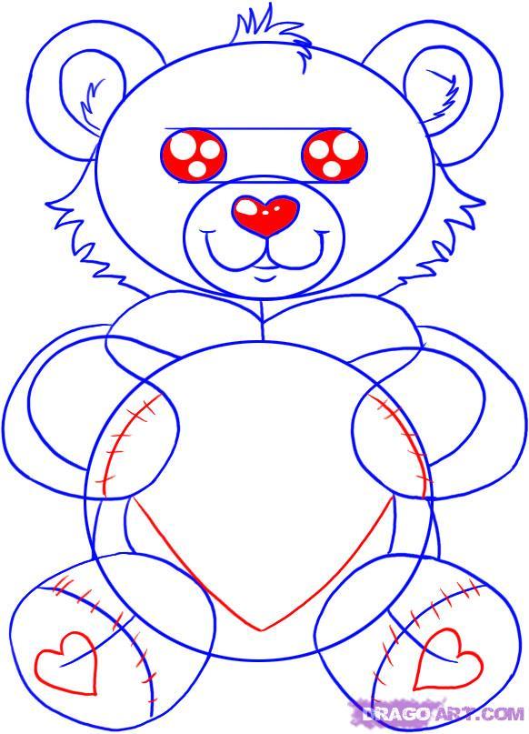 Рисуем плюшевого мишку с сердцем - шаг 5