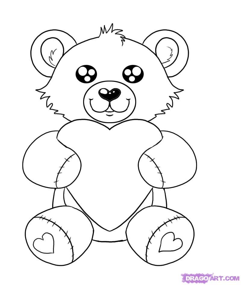 Рисуем плюшевого мишку с сердцем - шаг 6