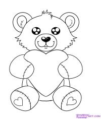 Как нарисовать плюшевого мишку с сердцем карандашом поэтапно