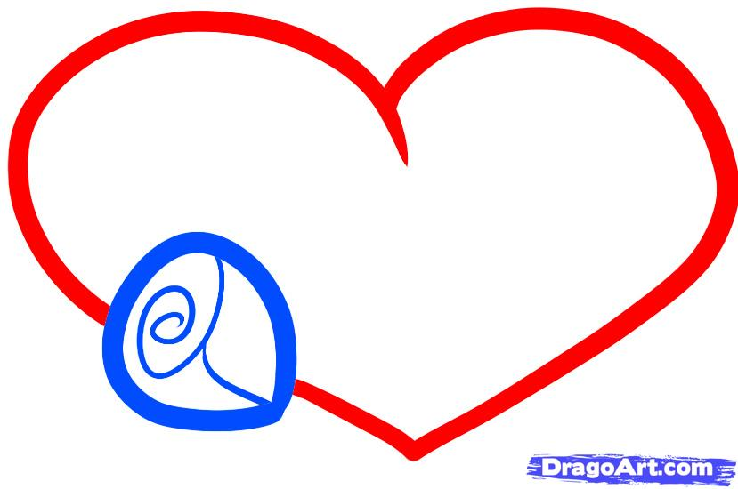 Рисуем сердце с розой ребенку - шаг 3