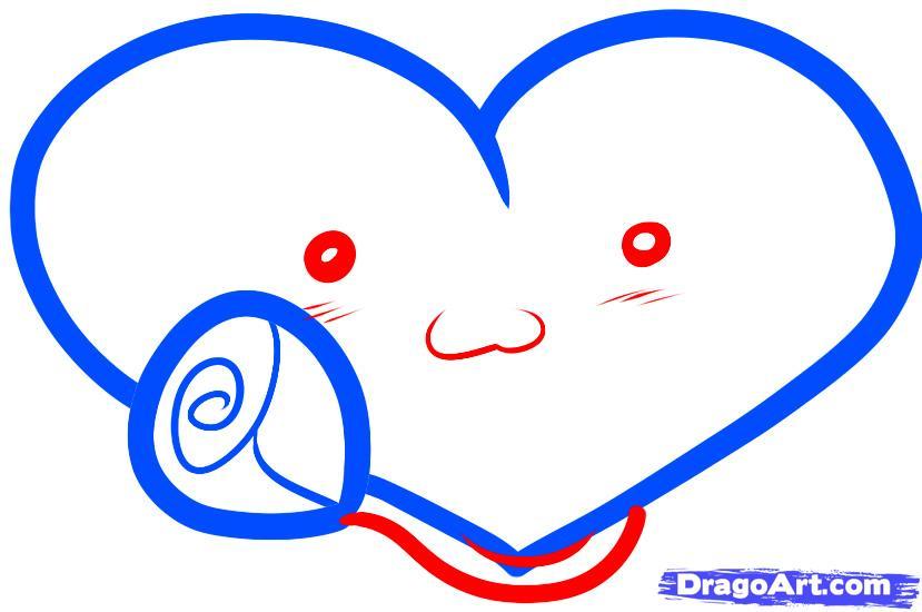 Рисуем сердце с розой ребенку - шаг 4