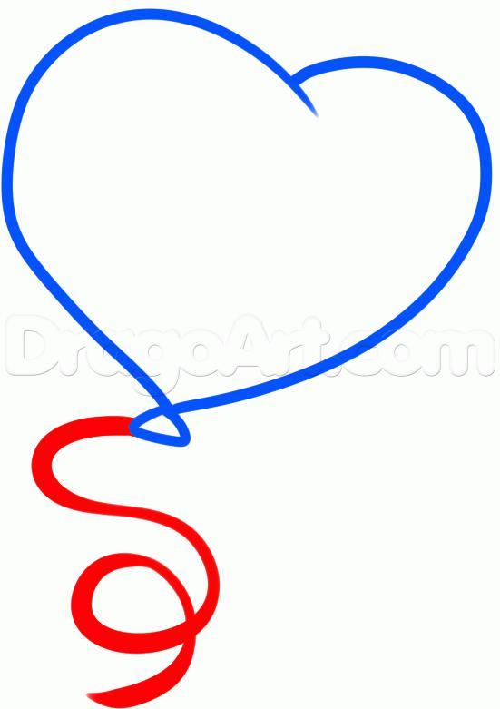 Рисуем воздушный шар ко дню святого валентина