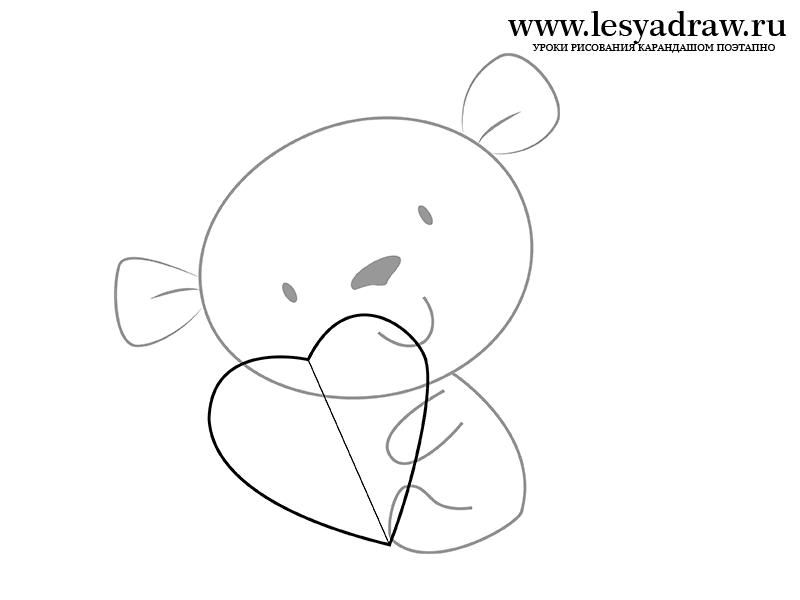 Как просто нарисовать маленького мишку с сердечком - шаг 3