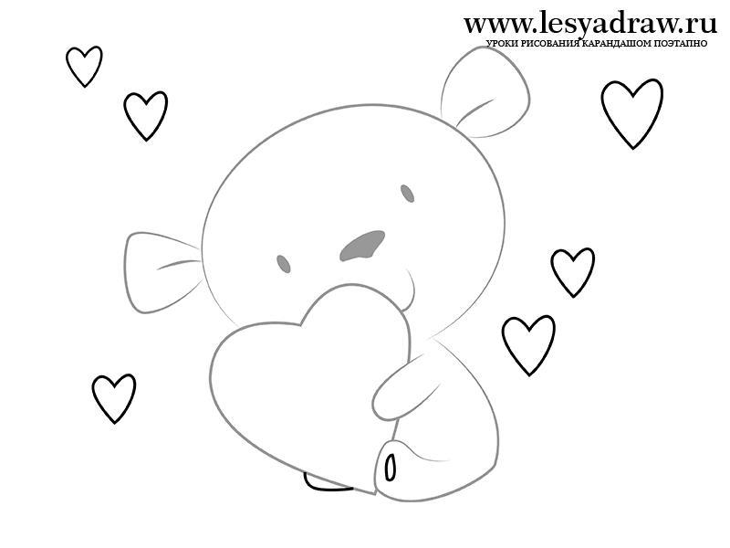 Как просто нарисовать маленького мишку с сердечком - шаг 4