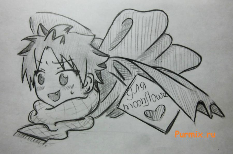 Рисуем Нацу Драгнила в подарочной упаковке на день Св. Валентина