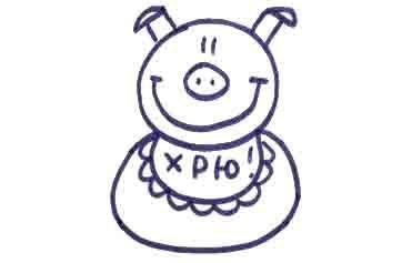 Рисуем свинку с ложной и вилкой ребенку - фото 10